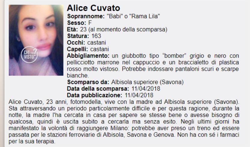 Albisola Superiore, ritrovata la 23enne scomparsa Alice Cuvato foto