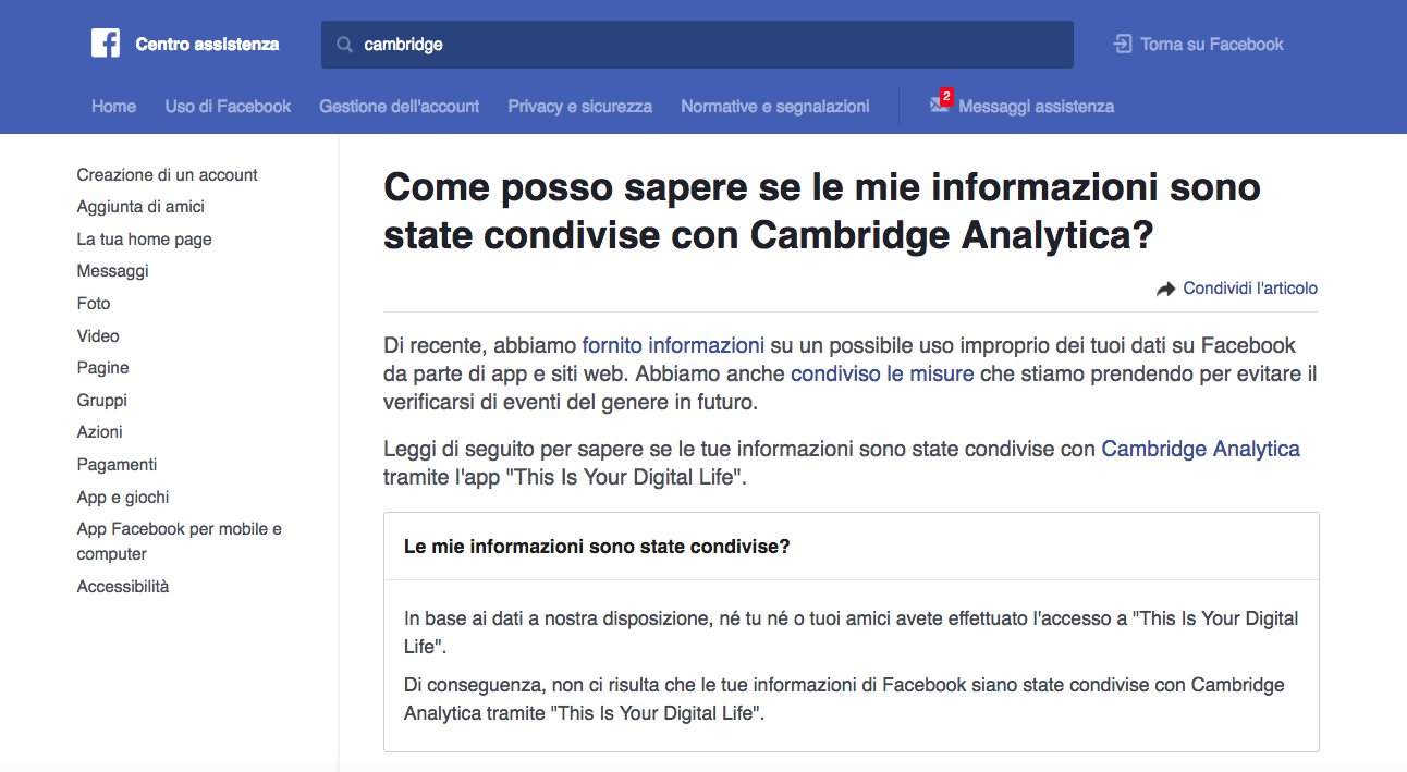 Scandalo dati Facebook: come scoprire se i tuoi dati sono finiti a Cambridge Analytica