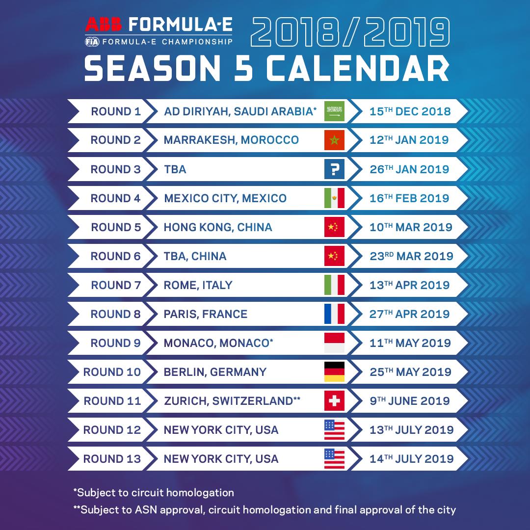 calendario formula E 2018/2019