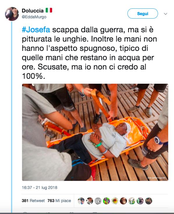 Le unghie rosse di Josefa, migrante soccorsa da Open Arms
