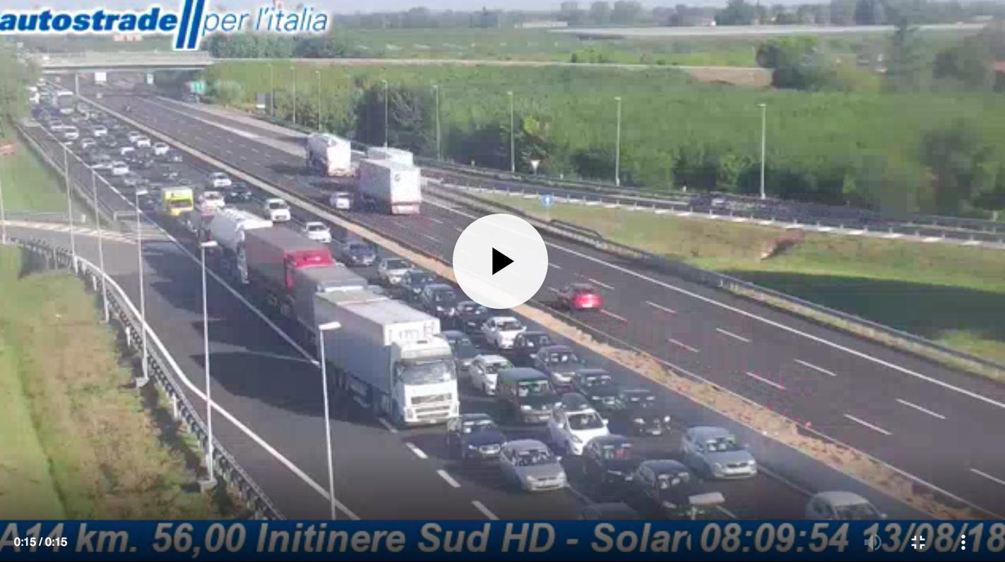 Autostrade in tempo reale: traffico, incidenti, chiusure oggi lunedì 13 agosto 2018