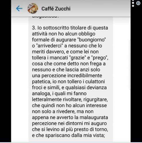 """Caffé Zucchi a Monza, fa recensione negativa su Google, gestore lo rintraccia e lo insulta: """"Non tollero culattoni e froci"""""""