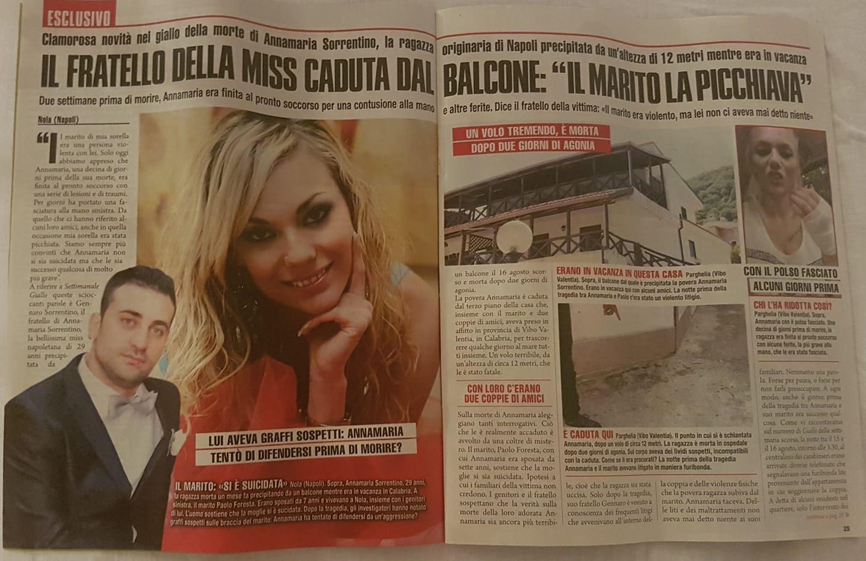 CASO ANNAMARIA SORRENTINO SETTIMANALE GIALLO