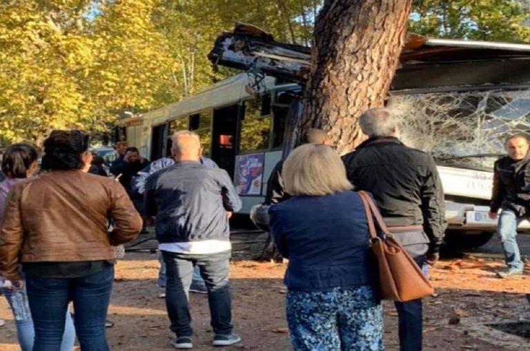 roma autobus contro albero