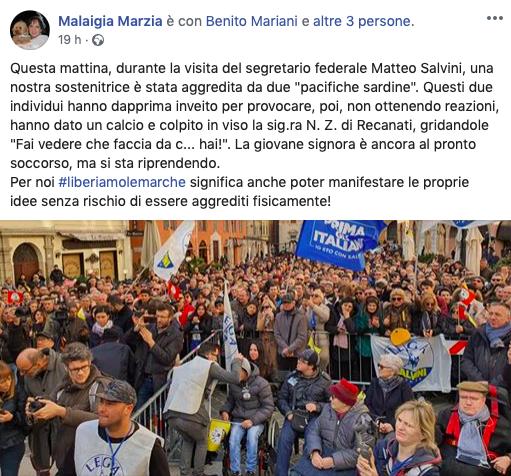 donna aggredita al comizio di Salvini