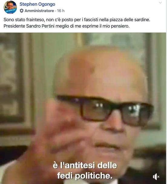 Sardine a Roma, Ogongo: «Piazza libera e antifascista, senza