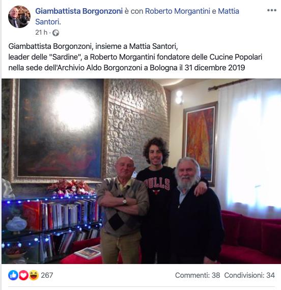 giambattista borgonzoni post facebook sardine