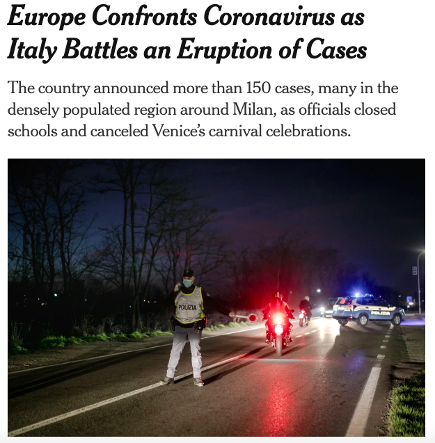 coronavirus in Italia new york times