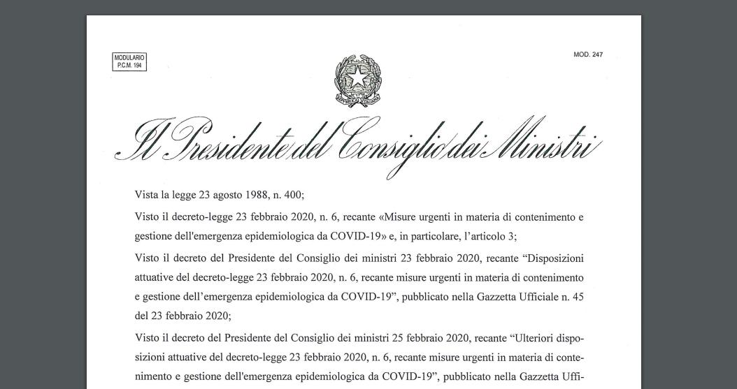 Coronavirus Dcpm 22 marzo 2020