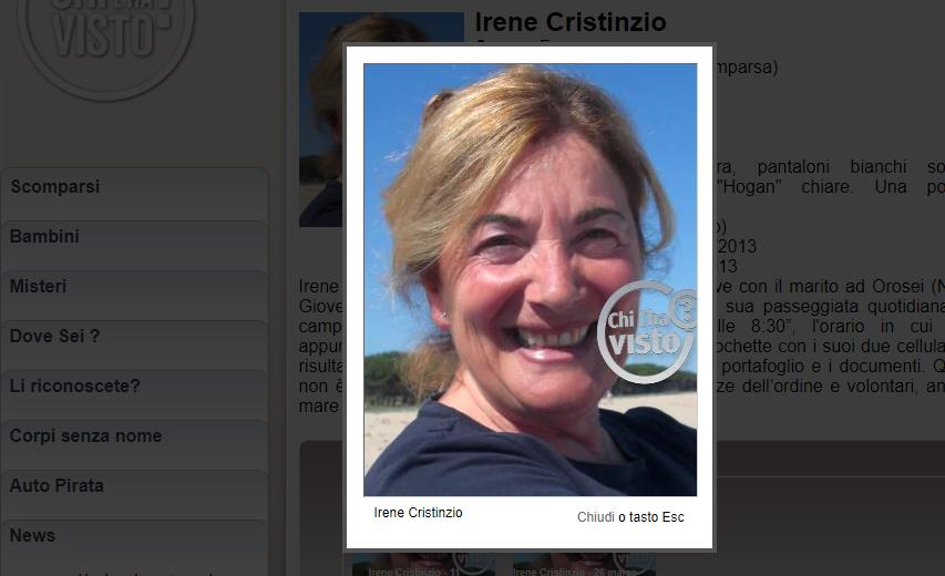 Irene Cristinzio professoressa in pensione scomparsa