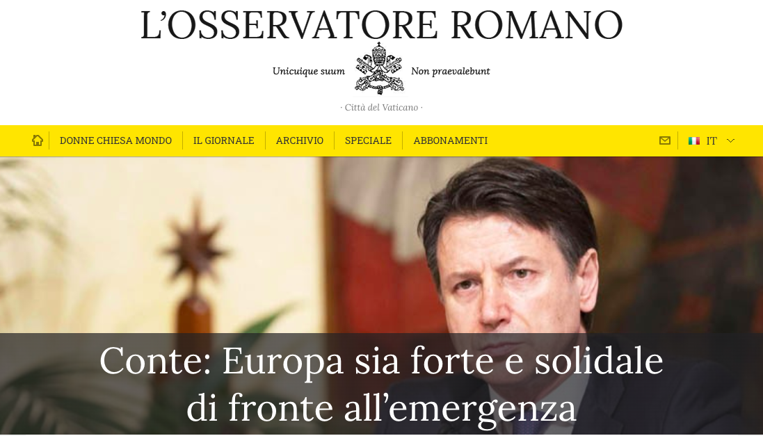 coronavirus conte intervista osservatore romano