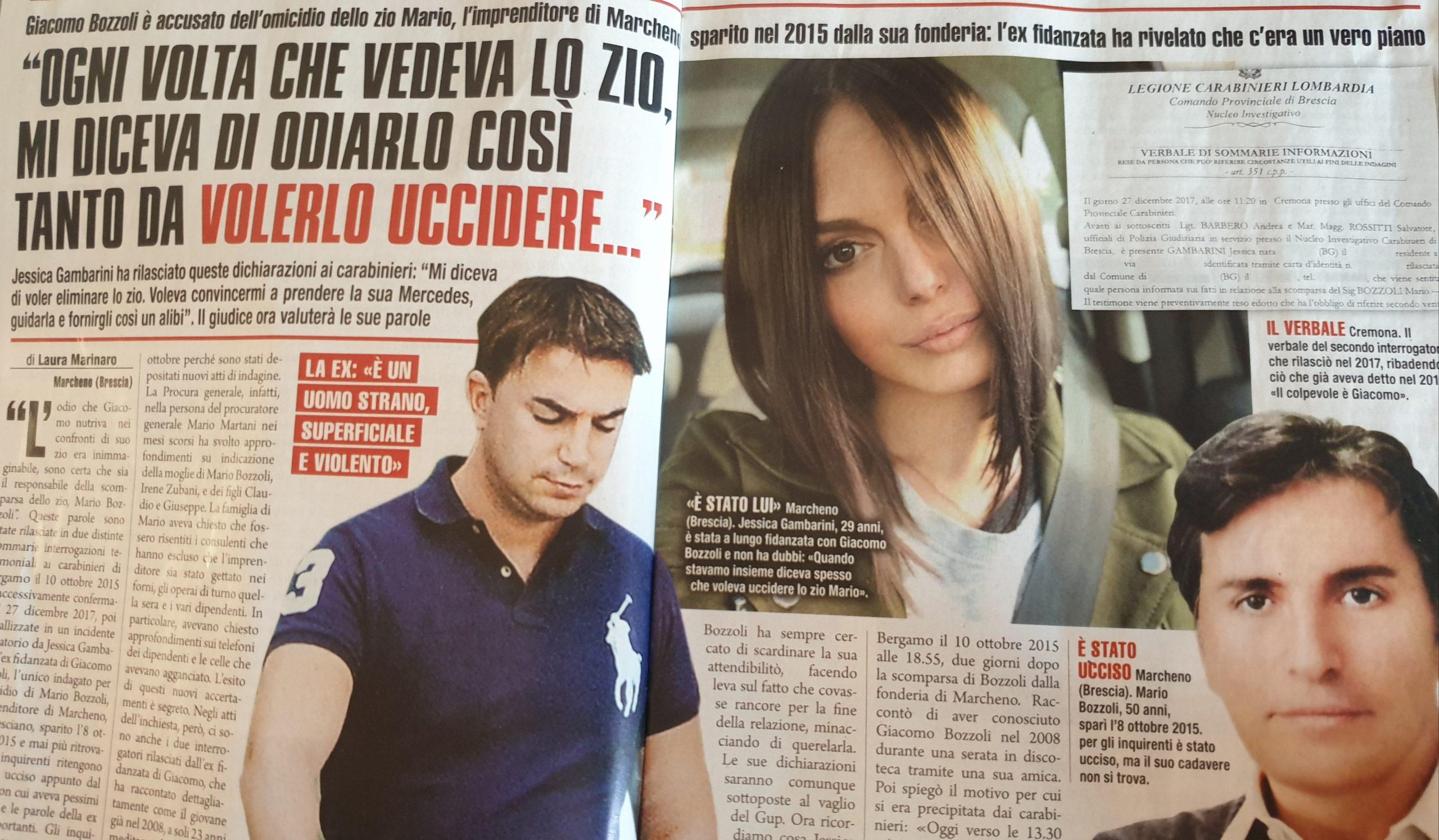 Mario Bozzoli, il nipote Giacomo accusato dalla ex: le parol
