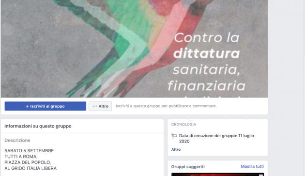 negazionisti covid manifestazione 5 settembre Roma