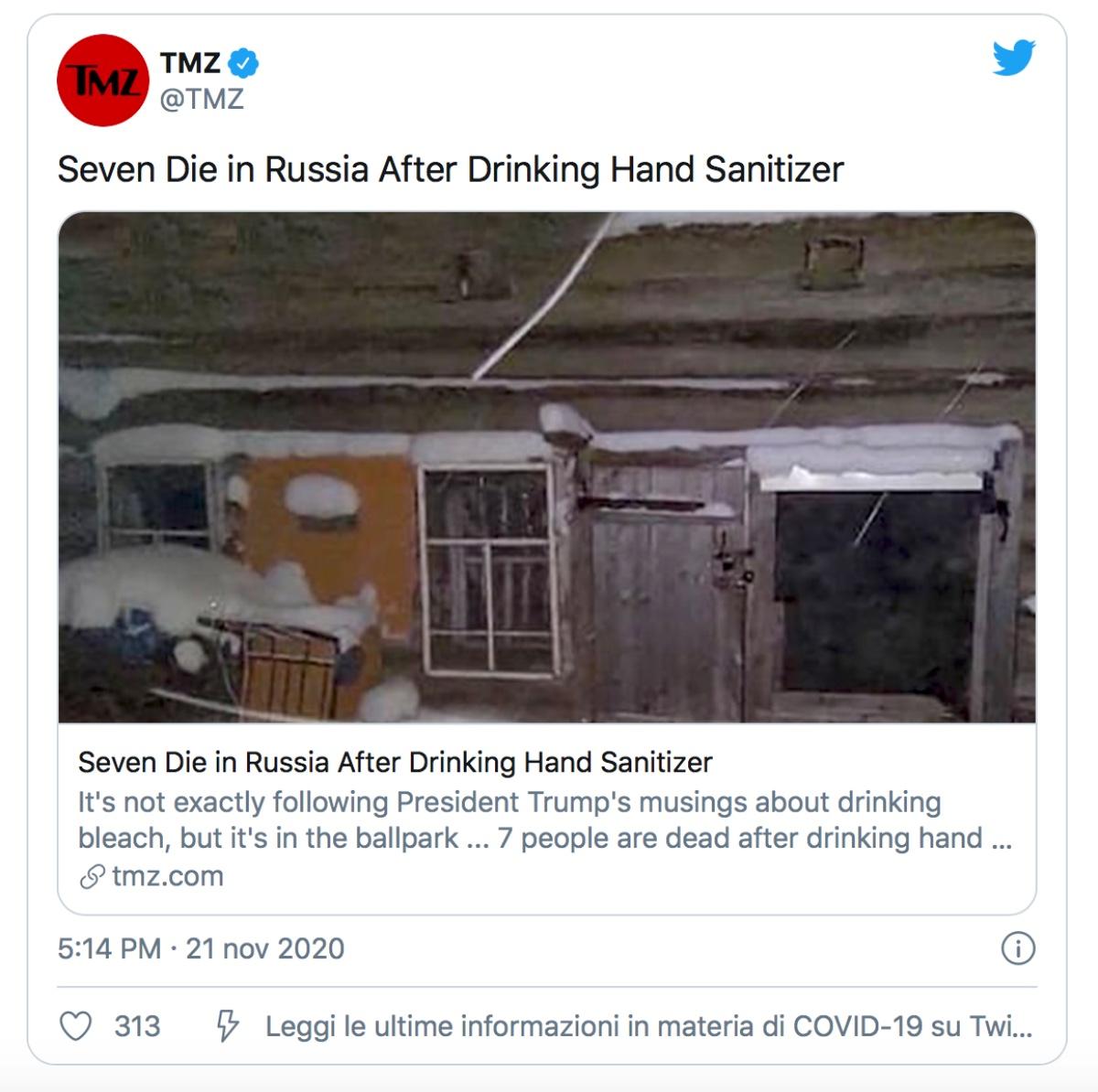 Decidono di bere igienizzante
