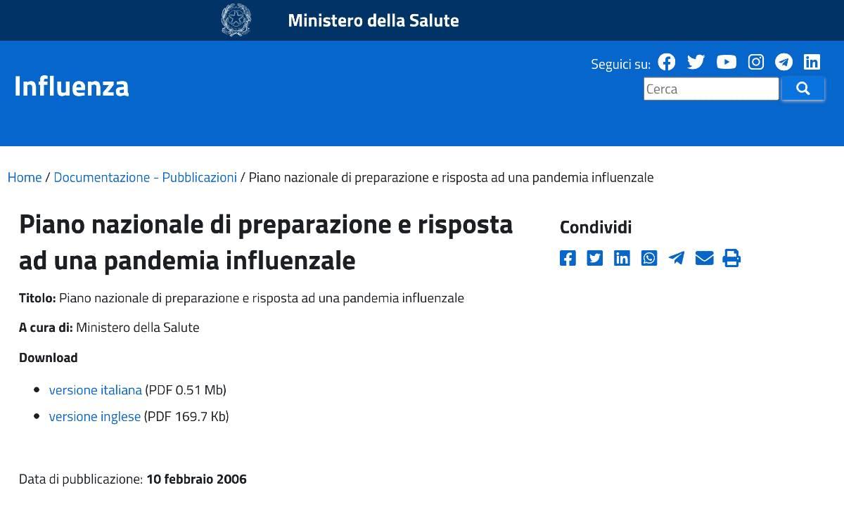piano pandemico nazionale non aggiornato