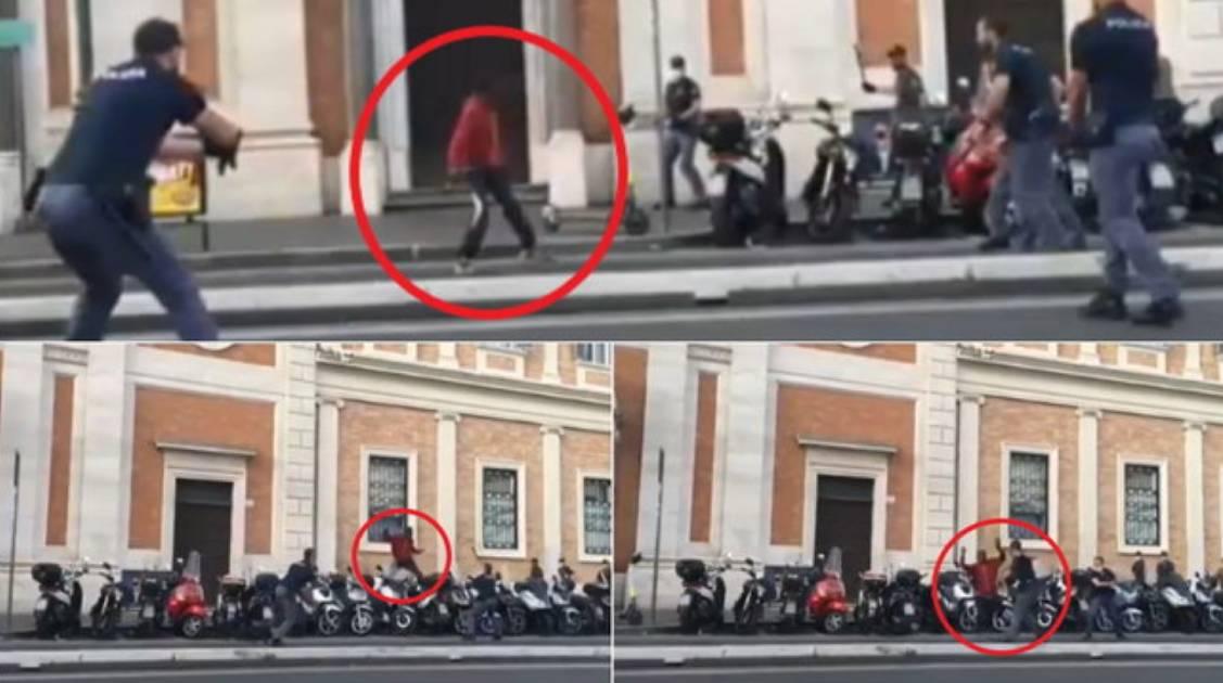 Roma, panico in stazione: uomo gira armato di coltello, la Polizia spara per fermarlo [VIDEO]