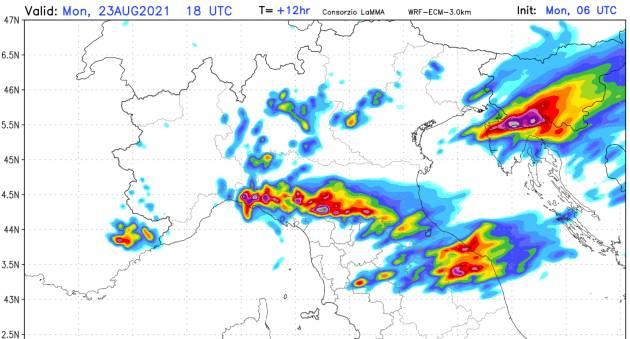 dove pioverà di più nelle prossime ore