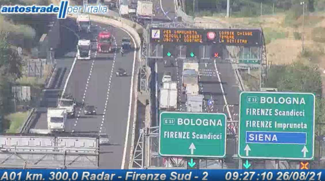 Autostrade in tempo reale oggi 26 agosto 2021