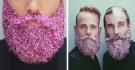 La moda trash degli uomini con i glitter sulla barba